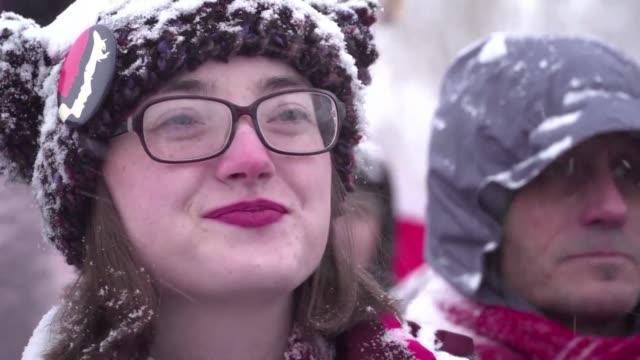 stockvideo's en b-roll-footage met in solidarity with women's marches taking place across the united states participants of the sundance film festival in park city utah gather under... - sundance film festival