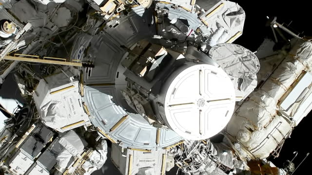 in space, october 18, 2019: nasa astronauts jessica meir and christina koch performed the first all-woman spacewalk. their mission was to replace a... - first occurrence stock videos & royalty-free footage