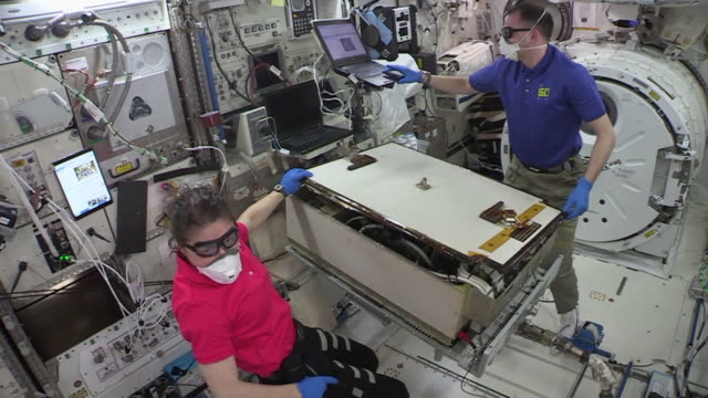 clean color corrected and broadcastsafe clip of astronaut christina koch in the international space station during expedition 61 the expedition on 3... - international space station stock videos & royalty-free footage