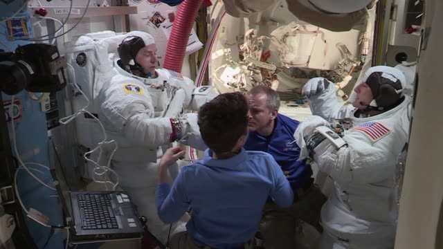 in space-february 6, 2020: clean, color corrected, and broadcast-safe clip of astronaut christina koch in the international space station during... - astronaut stock videos & royalty-free footage