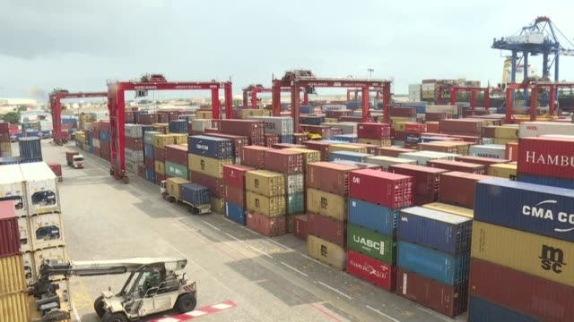 in spite of the covid-19 pandemic, activity has not stopped in the port of abidjan - côte d'ivoire stock videos & royalty-free footage