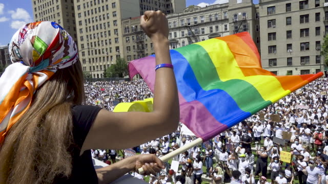 in support of equal rights for the black transgender community thousands rally at the brooklyn museum in light of gay pride month and the recent... - african ethnicity stock videos & royalty-free footage