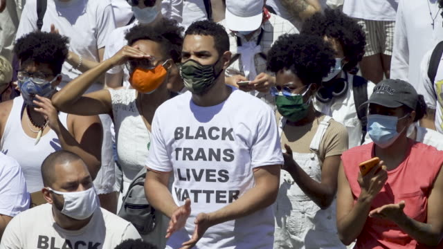 in support of equal rights for the black transgender community thousands rally at the brooklyn museum in light of gay pride month and the recent... - global stock videos & royalty-free footage
