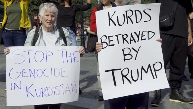 in support of kurds being targeted by turkish forces in syria demonstrators gathered at union square in downtown manhattan new york city. many held... - クルド人点の映像素材/bロール