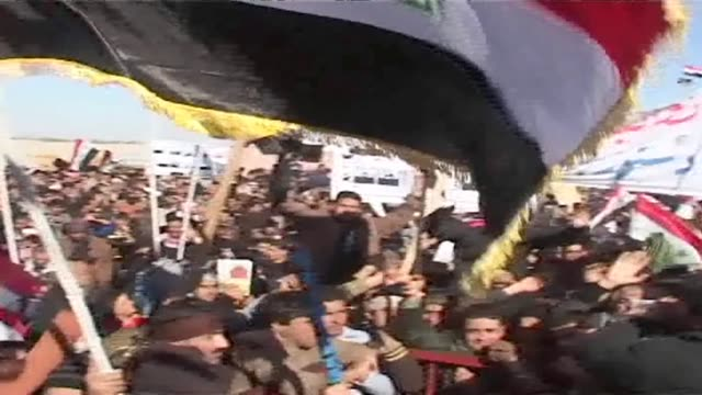 in the central iraqi city of ramadi thousands of sunni muslims took to the streets on friday to decry the alleged targeting of their minority in... - shi'ite islam stock videos & royalty-free footage