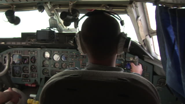 In the cockpit of a Russian plane steering
