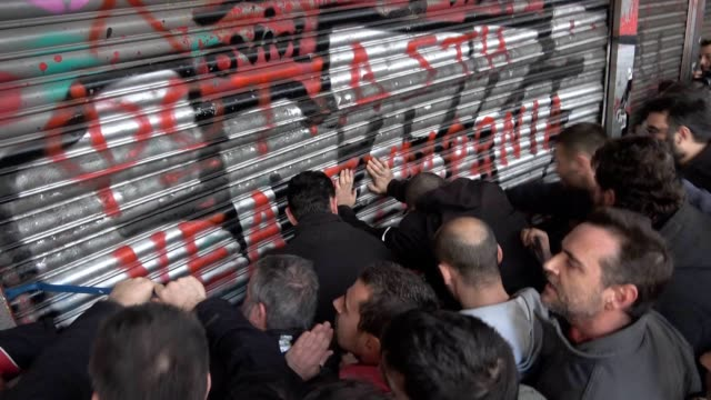 in the evening of 9 january a massive and combative demonstration was organized in athens by the greek communistaffiliated group pame the tradeunions... - effie stock videos and b-roll footage