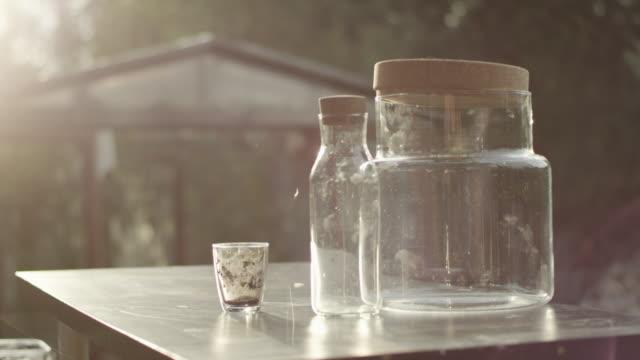 stockvideo's en b-roll-footage met diy in de tuin. voorbereiding van containers voor het project - glazen pot
