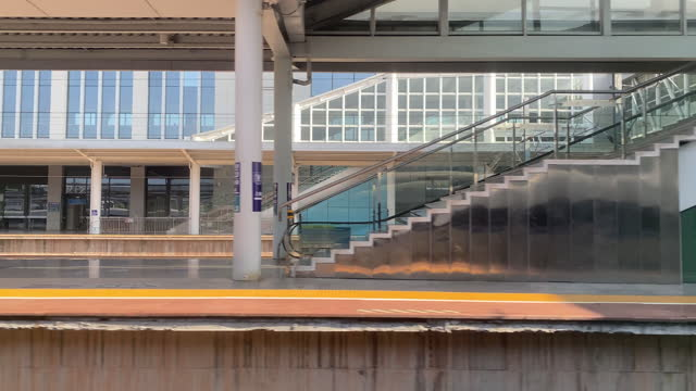 in the high-speed train, watch the train slowly enter the platform - abstract stock videos & royalty-free footage