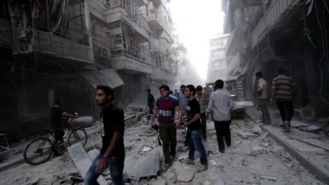 in the northern city of aleppo four people among them a media activist were killed on wednesday and dozens more wounded in air raids on rebel held... - campaigner stock videos & royalty-free footage