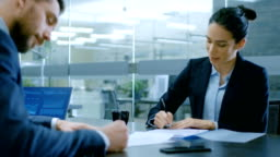 In the Office Businesswoman and Businessman Have Conversation, Negotiating, Draw up a Contract, Sign Documents, Finish Transaction, Shake Hands. Stylish People in Modern Conference Room.