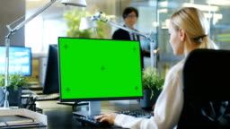 In the Office Businesswoman works at Her Desk on a Personal Computer with Mock-up Green Screen. Colleague Enters Office and Takes Place at His Desk.