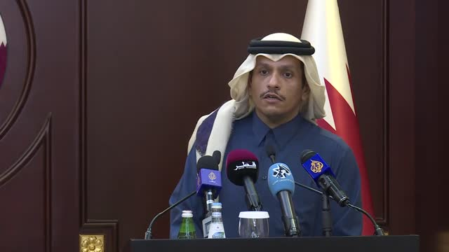 in the qatari capital doha, top turkish and qatari diplomats on thursday praised the good state of bilateral ties between the two countries. after... - press room stock videos & royalty-free footage