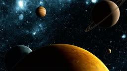 In The Search For The Exoplanet. Flight In Outer Space Between Different Planets. 4K. 3840x2160.