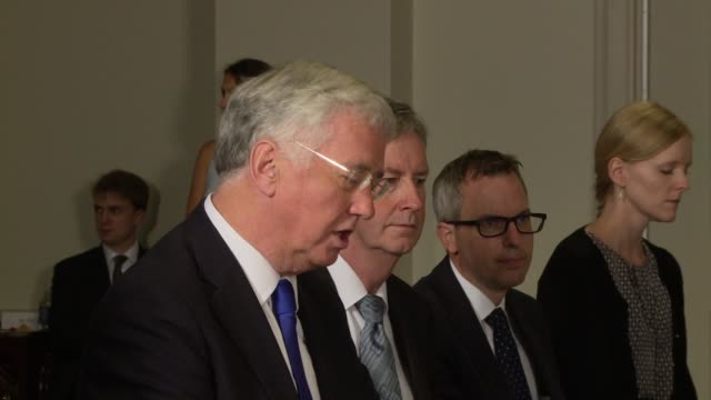 In the Secretary's formal offices UK Secretary of State for Defense Michael Fallon makes a statement about the US UK military defense relationship...