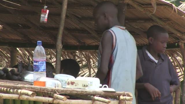 vídeos y material grabado en eventos de stock de in the small village of lokolia in the democratic republic of congo residents no longer eat bushmeat but fish to conquer ebola after an awareness... - ébola