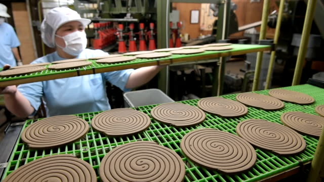 in the upcoming war against pesky mosquitoes, factory workers of kiyou jochugiku co. here in central japan are busily making new all-natural incense... - 虫除け点の映像素材/bロール