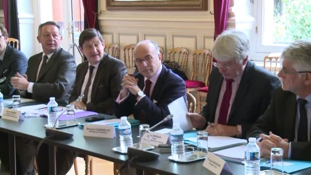 in the wake of the paris attacks frances interior minister bernard cazeneuve hosted a meeting with the euro 2016 tournament organisers and the french... - bernard cazeneuve stock videos & royalty-free footage