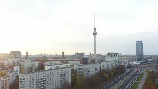 in this aerial view berlin's landmark television tower at alexanderplatz stand during a four-week semi-lockdown during the second wave of the... - rathaus stock videos & royalty-free footage