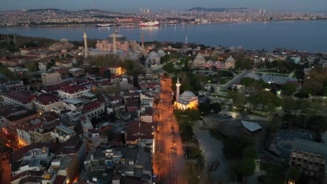 in this aerial view from a drone hagia sofia and surrounding areas are empty on the second day of the holy fasting month of ramadan and the third day... - istanbul stock videos & royalty-free footage