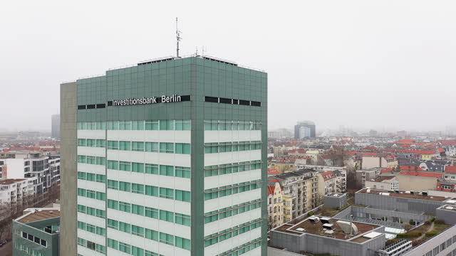 in this aerial view from a drone, the investitionsbank berlin stands during the second wave of the coronavirus pandemic on february 28, 2021 in... - non urban scene stock-videos und b-roll-filmmaterial