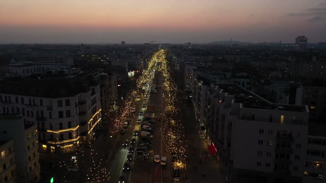 in this aerial view lights hang on trees during the christmas shopping season on kurfuerstendamm avenue, berlin's most famous shopping street during... - street light stock videos & royalty-free footage