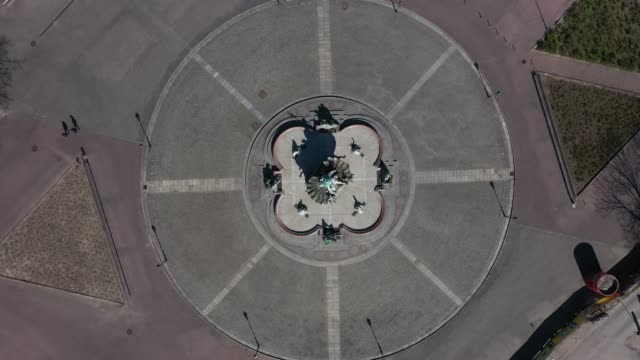in this aerial view neptune fountain, which under normal circumstances is a popular landmark, stands at alexanderplatz during the coronavirus crisis... - rome italy video stock e b–roll