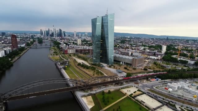 In this aerial view photographed from a multirotor drone with local authority permission the new headquarters of the European Central Bank stands in...