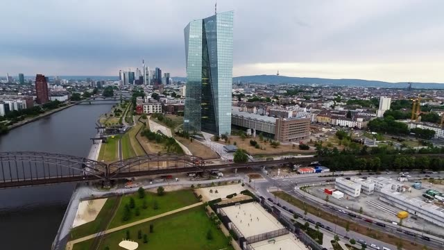 in this aerial view photographed from a multi-rotor drone with local authority permission the new headquarters of the european central bank stands in... - frankfurt main stock videos & royalty-free footage