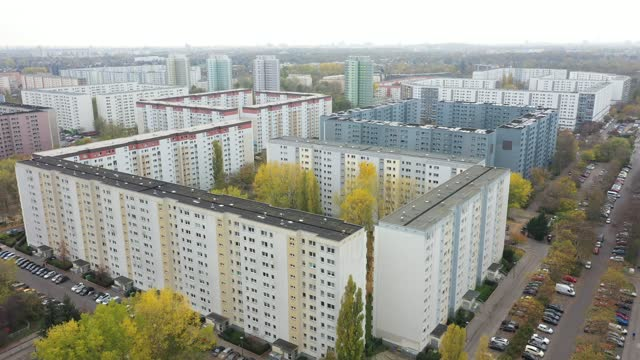 in this aerial view plattenbau architecture stands next to the s-bahn station wartenberg in the berlin district marzahn hellersdorf during a... - berlin stock videos & royalty-free footage