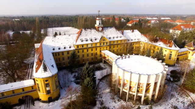 in this aerial view the officers' building and an auditorium stand at the former soviet military base on january 26, 2017 in wuensdorf, germany.... - brandenburg state stock videos & royalty-free footage
