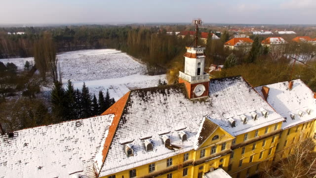 in this aerial view the officers' building and an auditorium stand at the former soviet military base on january 26, 2017 in wuensdorf, germany.... - soviet military stock videos & royalty-free footage