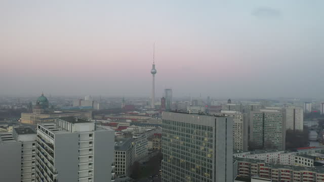 in this aerial view the television tower on alexanderplatz and the berliner schloss city palace stand during the second wave of the coronavirus... - palace video stock e b–roll