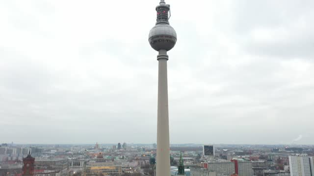 in this aerial view the television tower on alexanderplatz stands on cyber monday during the second wave of the coronavirus pandemic on november 30,... - rathaus stock videos & royalty-free footage
