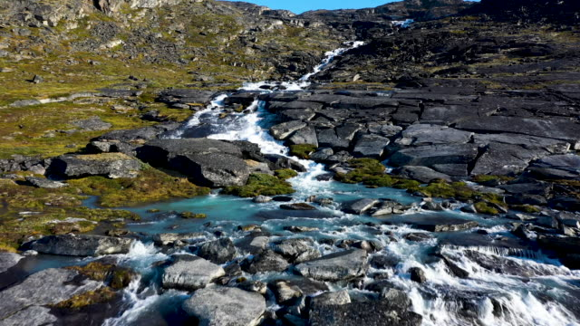 in this aerial view water from the greenland ice sheet rushes down at what a local guide said is an unprecedentedly high level in the last 19 years... - greenland stock videos & royalty-free footage