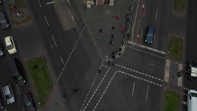 in this areal view people cross a street at hermannplatz in the district neukoelln during the second wave of the coronavirus pandemic on on december... - verkehrsschild stock-videos und b-roll-filmmaterial