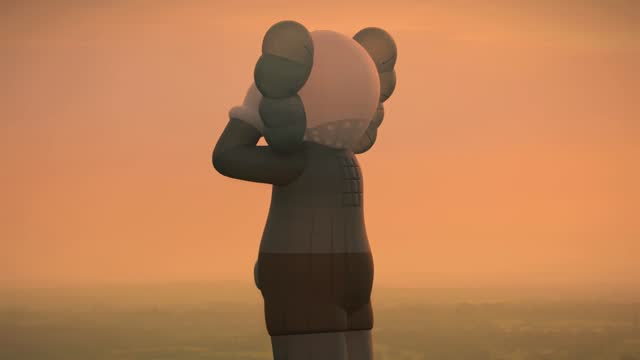 in this footage released on may 17 artist kaw's latest work and the 42-meter tall hot-air balloon 'kaws:holiday' takes flight prior to may 16, 2021... - video stock videos & royalty-free footage