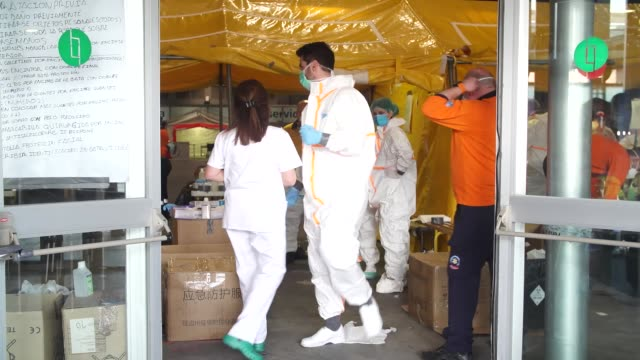 in this handout image provided by comunidad de madrid a general view of the pavilion number 5 is seen while being prepared and flowers being donated... - pavilion stock videos & royalty-free footage
