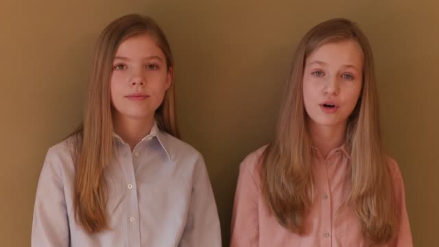 in this handout video provided by casa de s.m. el rey spanish royal household, princess leonor of spain and princess sofia of spain talk about the... - 王室点の映像素材/bロール
