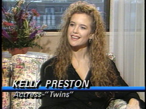 in this interview actress kelly preston talks about her role in the film twins preston talks about her onscreen kiss with arnold schwarzenegger and... - kelly preston stock-videos und b-roll-filmmaterial