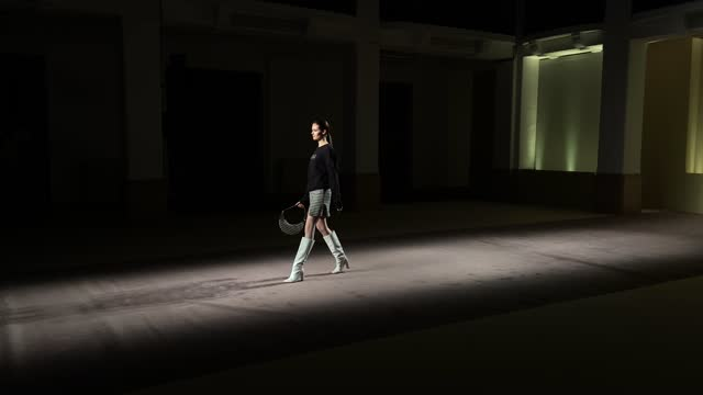 in this shot released on february the 26th, a model walks the runway at the budapest select fashion show during the milan fashion week fall/winter... - milano bildbanksvideor och videomaterial från bakom kulisserna