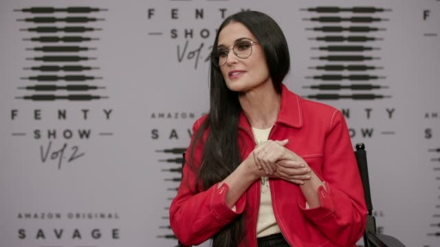 in this video released october 1 interview – demi moore at rihanna's savage x fenty show vol. 2 presented by amazon prime video at the los angeles... - interview stock videos & royalty-free footage
