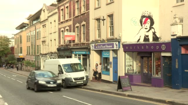 in upper maudin street bristol england next to the wallace and gromit charity shop vandals have added a 'speech bubble' to the graffiti image... - 2014 stock videos & royalty-free footage