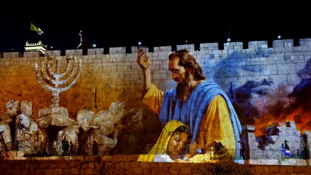 biblical scenes are projected on the wall near david tower at the old city of jerusalem commemorating the 50th anniversary of the 1967 sixday war and... - avvenimento biblico video stock e b–roll