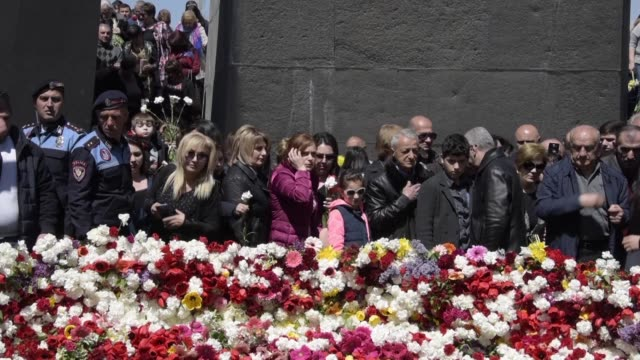in yerevan crowds of people honour the memory of 15 million armenians who were killed during a massacre by ottoman forces in 1915 - ottoman stock videos and b-roll footage