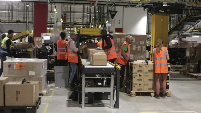 inauguration of a distribution center of amazon on october 22 2019 in bretigny france this new site is the largest logistics center in iledefrance... - freight transportation stock videos & royalty-free footage