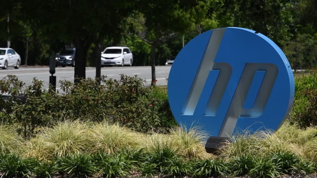 hp inc signage stands at the entrance to the company's headquarters in palo alto california us on monday may 28 2018 - headquarters stock videos & royalty-free footage