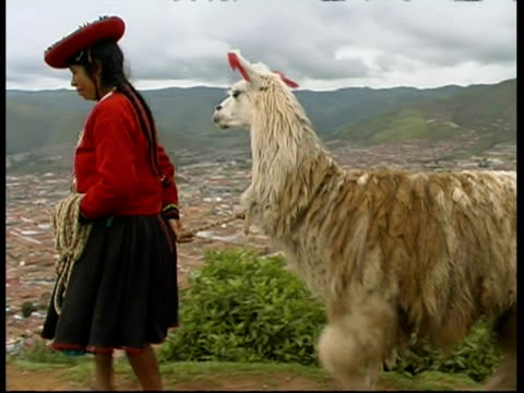 Inca woman in traditional clothes with a Llama (Lama glama), above Cusco, Peru