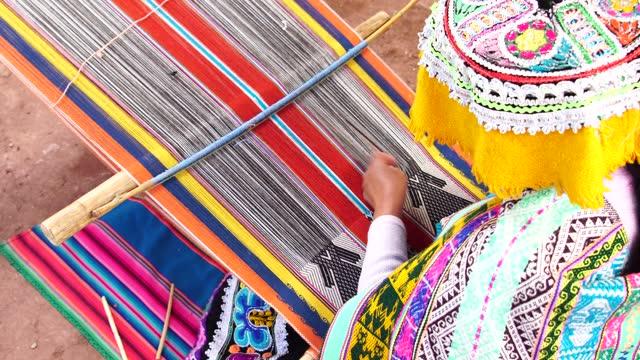 inca woman weaving alpaca wool - peru stock videos & royalty-free footage