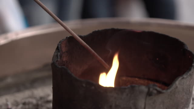 incense burning in nara, japan. slow-mo. - incense stock videos & royalty-free footage